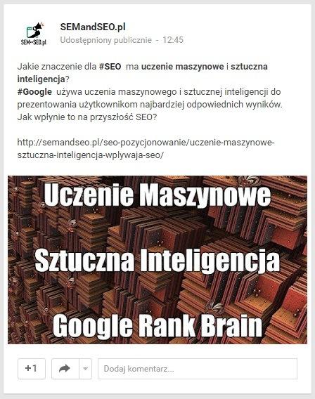 post na Google Plus z dodanym zdjęciem własnym