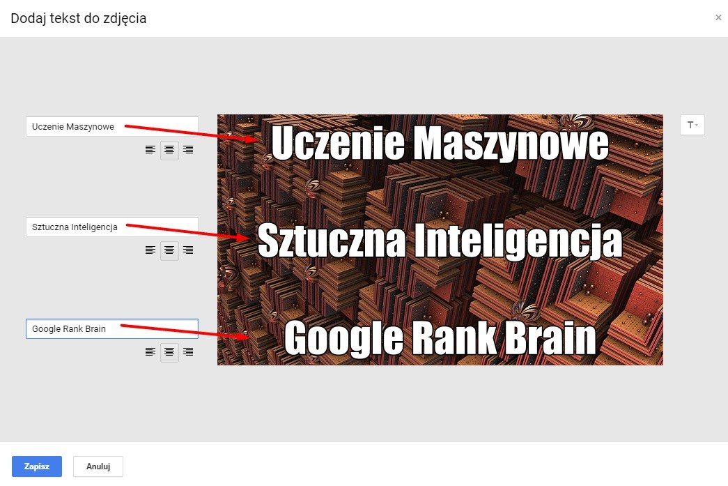 własne napisy na zdjęciu w Google Plus