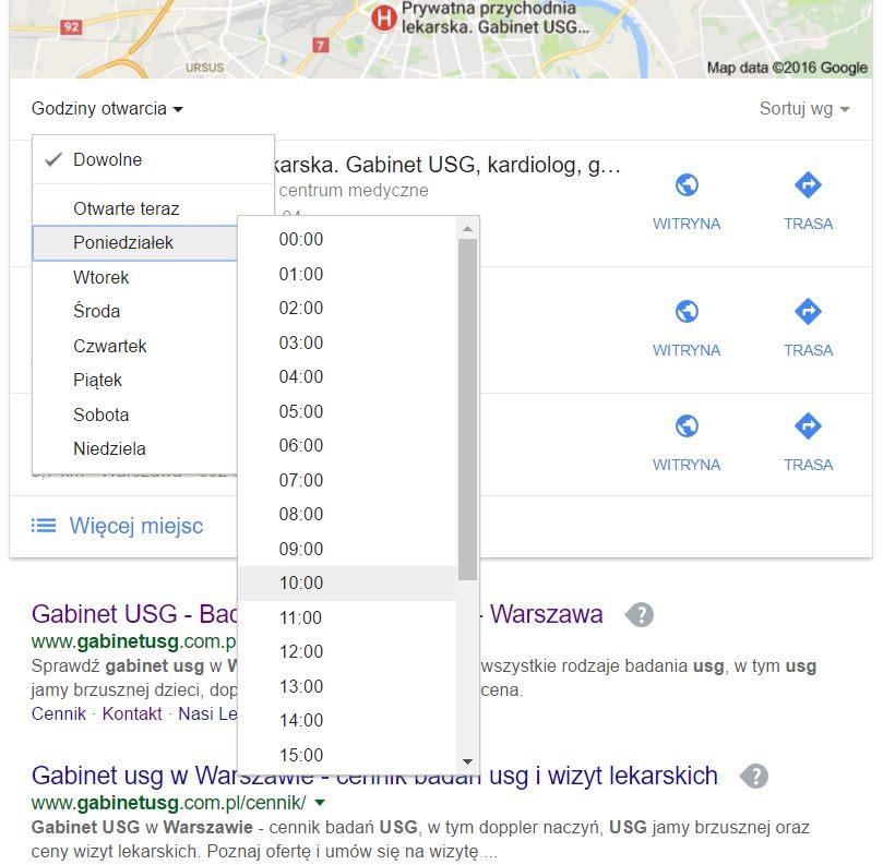 Wyniki lokalne sortowane wg. dni i godzin otwarcia