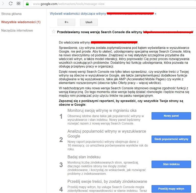Jak włączyć nowe GSC - Google Search Console Beta