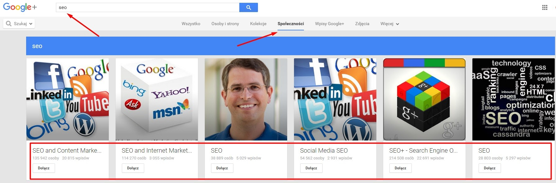 szukanie społeczności w Google Plus
