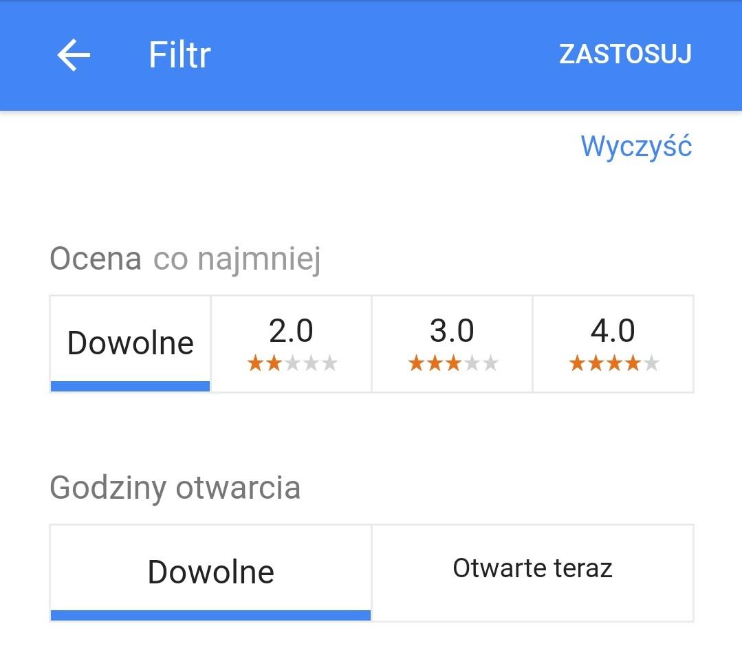 więcej filtrów w mobilnych wynikach wyszukiwania